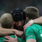 Stephen Ferris with Keith Earls and Tommy Bowe.