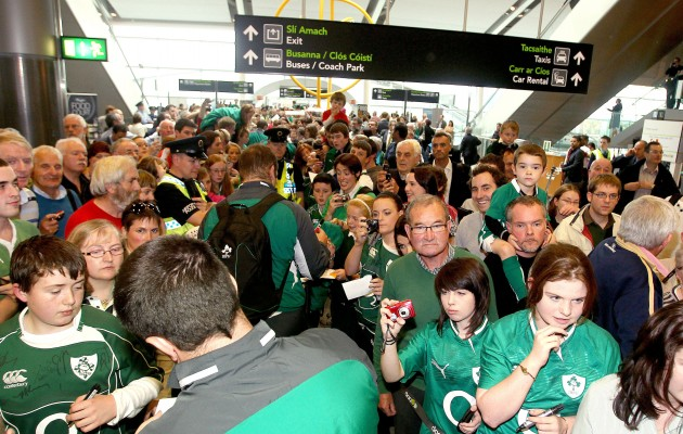 The Irish team make their way through large crowds 11/10/2011