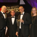 The winner of the Internet Hero Award 2011 is Ray Nolan. Accepting the award on behalf of Ray is L/R Dara Ó Briain, Ian Hyland, Caelen King and Emer McHugh from Leo Burnett