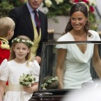 Pippa with bridesmaid Margarita Armstrong-Jones leave the Goring Hotel for Westminster. (AP)