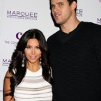 Kim Kardashian and her husband Kris at her birthday celebration in Las Vegas, just over a week ago. Kardashian filed for divorce at the weekend. (pic: AJM/EMPICS Entertainment)