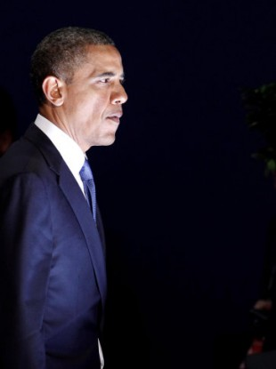 US President Barack Obama leaves a meeting at the G20 Summit in Cannes, France.
