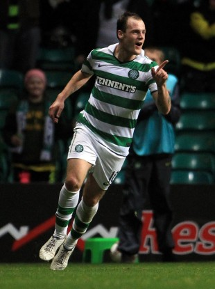 Anthony Stokes celebrates notching his second last night.