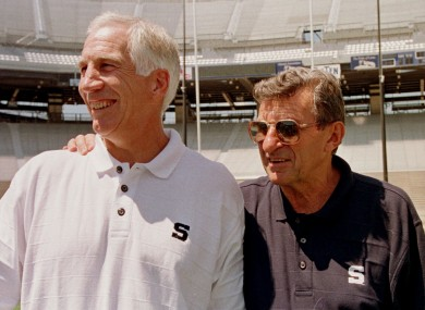 Sandursky, left, with Penn State head football coach Joe Paterno.