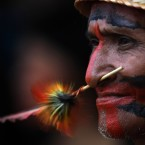 A Rikibaktsa Indian attends the Indigenous Games on the island of Porto Real in the city of Porto Nacional, Brazil on Tuesday. 