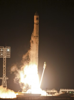 The Zenit-2SB rocket, carrying the Phobos-Grunt craft, blasts off from its launch pad at the cosmodrome in Baikonur, Kazakhstan, overnight.