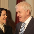 What you lookin' at? Actress Neve Campbell and Minister Jimmy Deenihan share a moment during a photocall for the new TV mini-series Titanic: Blood And Steel which is being filmed in Ireland.