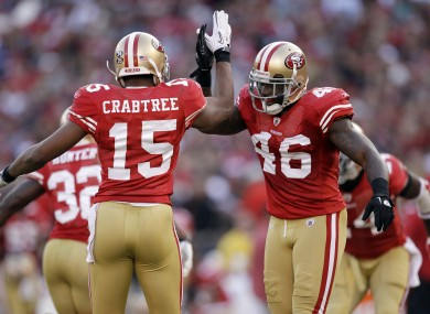 The 49ers celebrate a two-point conversion.