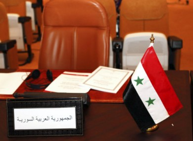 The empty seat of Syria's delegate at today's Arab League meeting in Morocco.