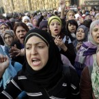Egyptian proteters shout anti-ruling military council slogans at Tahrir Square today. (AP Photo/Amr Nabil/PA Images)