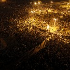 Protesters gather in Tahrir Square tonight. (AP Photo/Khalil Hamra/PA Images)