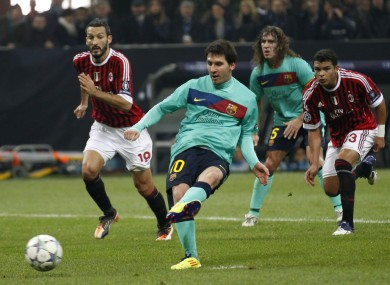 Leo Messi scores from the spot at the San Siro.