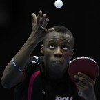 Great Britain's Darius Knight during his game against Tzu-Hsiang Hung during the ITTF Pro Tour Grand Finals at the Excel Arena, London.