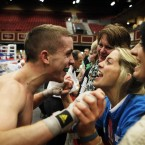 Ireland's Niall McDermott celebrates with his sister Lorraine after winning his quarter-final of the World Kickboxing Championships at the CityWest Hotel in Dublin.