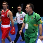 Ireland's Kenny Egan exits a happy man after his win over China's Xuan Bao during the Boxing International Invitational at the Excel Arena, London.