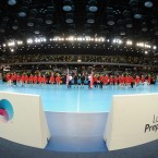 The Great Britain team, left, line up with the Austrian team during the London Handball Cup at the Olympic Park in London.