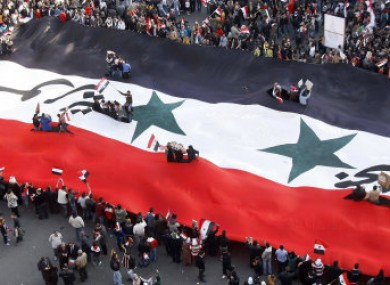 Supporters of the Syrian government rallying today in Damascus.