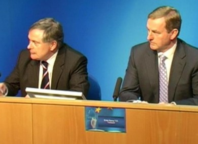 Brendan Howlin and Enda Kenny taking announcements today