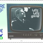 Gay Byrne, pictured during the early years of the Late Late Show, on an appropriately black-and-white TV.