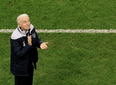 Giovanni Trapattoni pays tribute to the Irish fans after the final whistle this evening.