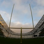 The Aviva Stadium tried out their American Football posts as part of their preparations to stage the Navy v Notre Dame game next September.