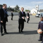 Darren Scully on the election trail with Enda Kenny in Naas (Eamonn Farrell/Photocall Ireland)
