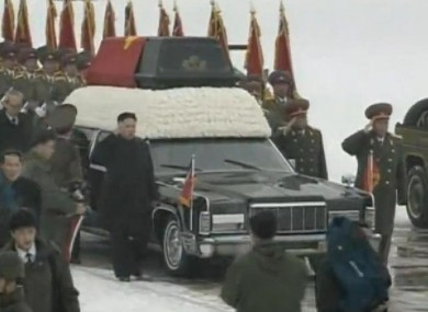 Kim Jong Un lead the funeral procession in Pyongyang earlier today