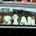 A hearse carrying the coffin of Sian O'Callaghan makes its way through the Old Town area of Swindon, Wiltshire. She went missing on 19 March and was found on 24 March. Taxi driver Christopher Halliwell was charged with her murder. (Pic: Tim Ireland/PA Wire)