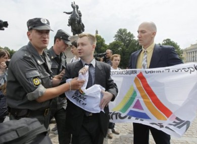 Police interrupt a gay rights protest in St Petersburg in June 2011.