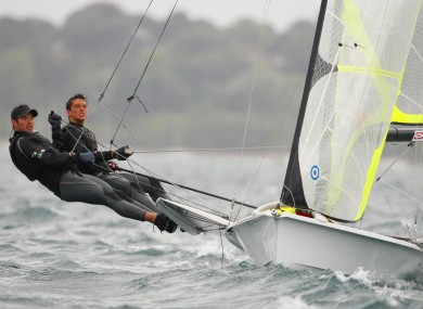 Ryan Seaton and Matt McGovern (left) racing in the 49er class during the London Olympic Games 2012 Test event in Weymouth in August.