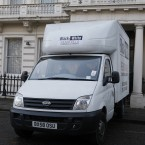 A removal van parked outside what is believed to be the residence of Iranian diplomats near the Iranian embassy in London, yesterday. (AP Photo/Kirsty Wigglesworth/PA Images)