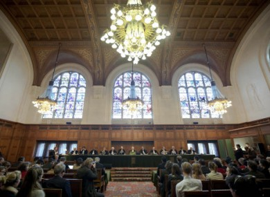 A general view of the Great Hall of Justice where the International Court of Justice delivered its ruling today.