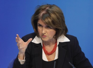Joan Burton at a press conference following the budget announcement yesterday.