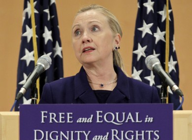 Hillary Clinton announced a new diplomatic push for gay rights at a UN conference in Geneva.