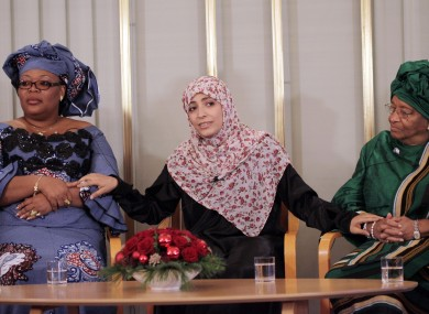 (L-R) Leymah Gbowee, Tawakkol Karman and Ellen Johnson-Sirleaf