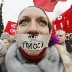 A protester seen during a rally in downtown St Petersburg, Russia (AP Photo/Dmitry Lovetsky)