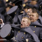 Army cadets cheers during the second half of the 112th edition of the annual Army vs. Navy NCAA college football  (AP Photo/Manuel Balce Ceneta)