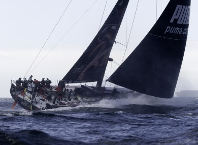 The PUMA racing team in action during leg two of the Volvo Ocean Race from Cape Town to Abu Dhabi.