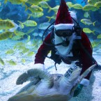 A diver dressed as Santa Claus performs under water at Tianjin Polar Ocean. (Photo by Su Li/ChinaFotoPress)