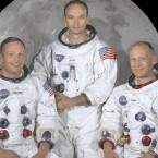 The three astonauts of Apollo 11 from left: Neil Armstrong, commander, Michael Collins, command module pilot, and Edwin Aldrin Jr, lunar module pilot. (NASA)