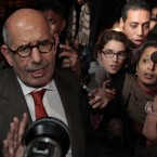 Secular Egyptian opposition leader and Nobel Laureate Mohamed ElBaradei returns to Egypt. Meanwhile, thousands take part in mass protests in Alexandria, Cairo and Suez.The ruling National Democratic Party's headquarters are set alight and state TV is attacked. (AP Photo/Lefteris Pitarakis/PA Images)