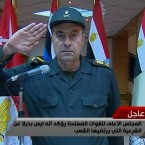Egyptian General Mohsen el-Fangari salutes as he appears live on Egyptian TV to confirm that President Mubarak has resigned. He gave a military salute to the people who were killed during the demonstrations. (AP Photo/Egypt TV/PA Images)