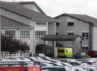 File photo of Wexford General Hospital where a female passenger was taken after today's crash outside New Ross in which the female driver died