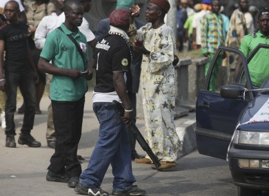 A protest against Boko Haram  in Lagos, Nigeria,Thursday, Dec. 8, 2011. 