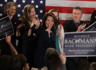Michele Bachmann addressing supporters in Des Moines last night - just hours before she announced an end to her campaign anyway.