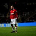 Manchester United's Wayne Rooney stands dejected during the Barclays Premier League match at the Sport Direct Arena Park, Newcastle.