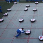 Pupils play huge Chinese Chess on the playground at Wutang Primary School on January 4, 2012 in Nanjing, Jiangsu Province of China. (Photo by Zhang Jingzhen/ChinaFotoPress)
