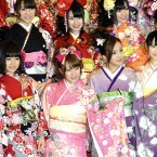 19 members of , Japanese pop group  AKB48 and SKE48 wear furisodes to celebrate their Coming-of-Age Day ceremony event at Kanda Myojin, a shinto shrine in Chiyoda, Tokyo. (The Yomiuri Shimbun via AP Images )