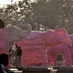 Indian workers cover elephant statues at Ambedkar Park in Noida, on the outskirts of New Delhi. (AP Photo/Tsering Topgyal)