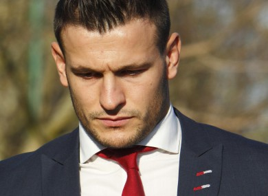Danny Care leaving Southampton Magistrates' Court this morning.